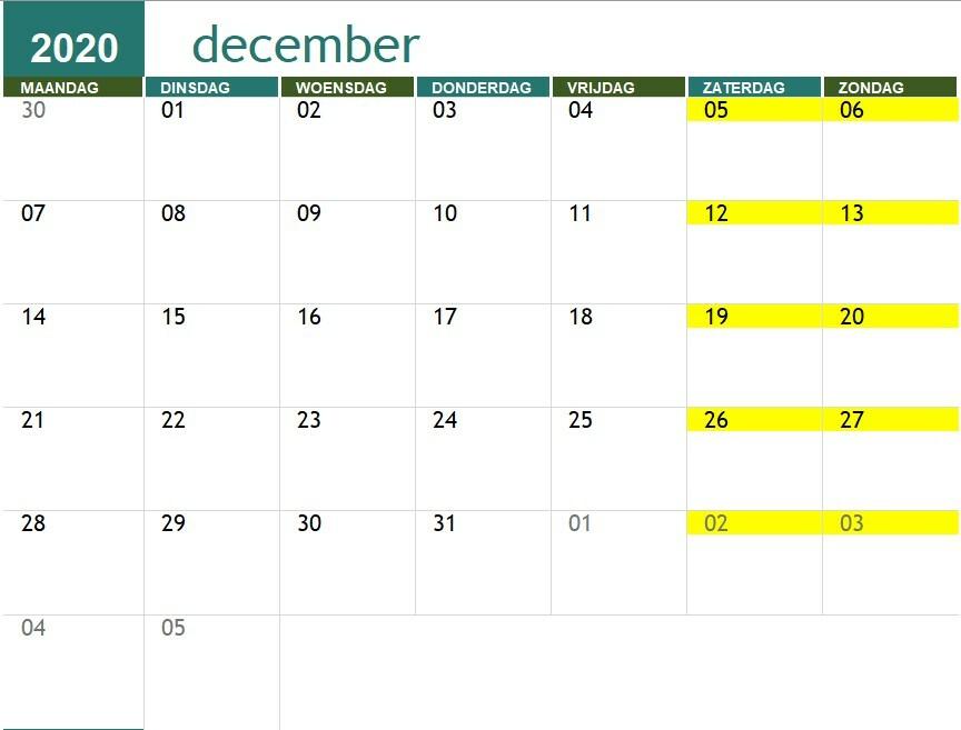 Maand kalender 2020-2021 | SNA Keiberg